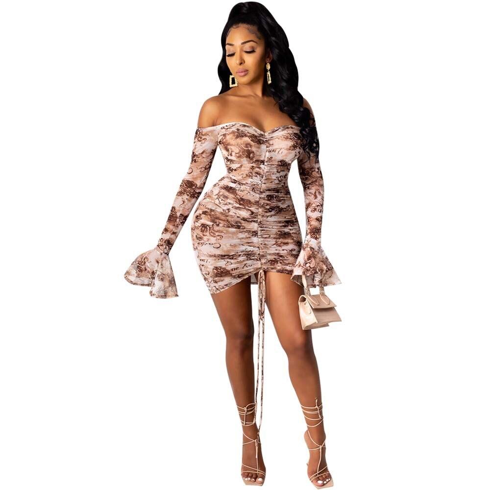 Snake Tie Dye Printed Ruch Drawstring Wrap Dress Woman Off Shoulder Long Flare Sleeve Sheath Dresses Retro Backless Robe Femme 10