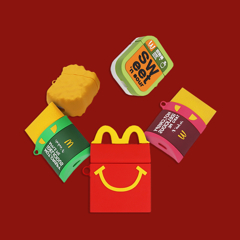 3D Cute McDonald's Chicken McNuggets McKee Box Earphone Cases For Apple Airpods 1/2 Funny Silicone Headphone Protection Cover