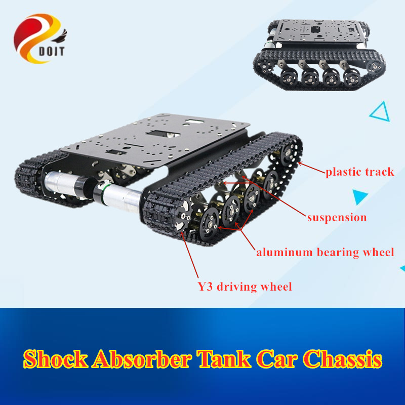 <font><b>TS100</b></font> Shock Absorber <font><b>Tank</b></font> Car Aluminum Alloy Chassis Frame with Robotic Arm interface holes for Modification, DIY, <font><b>Tank</b></font> model image