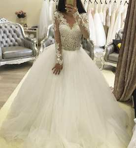 Wedding-Dresses Bridal-Gown Lace A-Line Long-Sleeves Custom-Made New V-Neck No Beaded-Sash