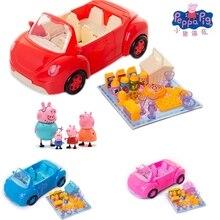 新 peppa 豚少女ジョージ玩具赤車セットアクションキャラクター漫画のキャラクターの子供のおもちゃ漫画のおもちゃ豚クリスマス