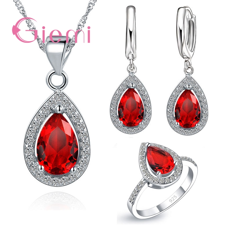 Fashion Water Drop Shap 925 Sterling Silver 3 Color Crystal Necklace Earring Finger Rings Jewelry Sets for Women Girl Gift