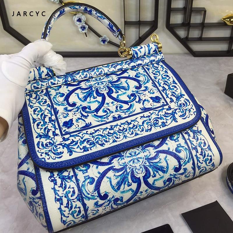 2019 New Coloured Blue And White Porcelain Printing Art Coloured Painting Leather Handbag Luxury Handbags Women Bags Designer