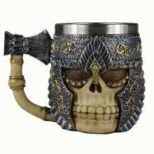 Resin and Stainless Steel Skull Mug Axe Lord Warrior Beer Stein Tankard Coffee Tea Cup Halloween Bar Drinkware Gift