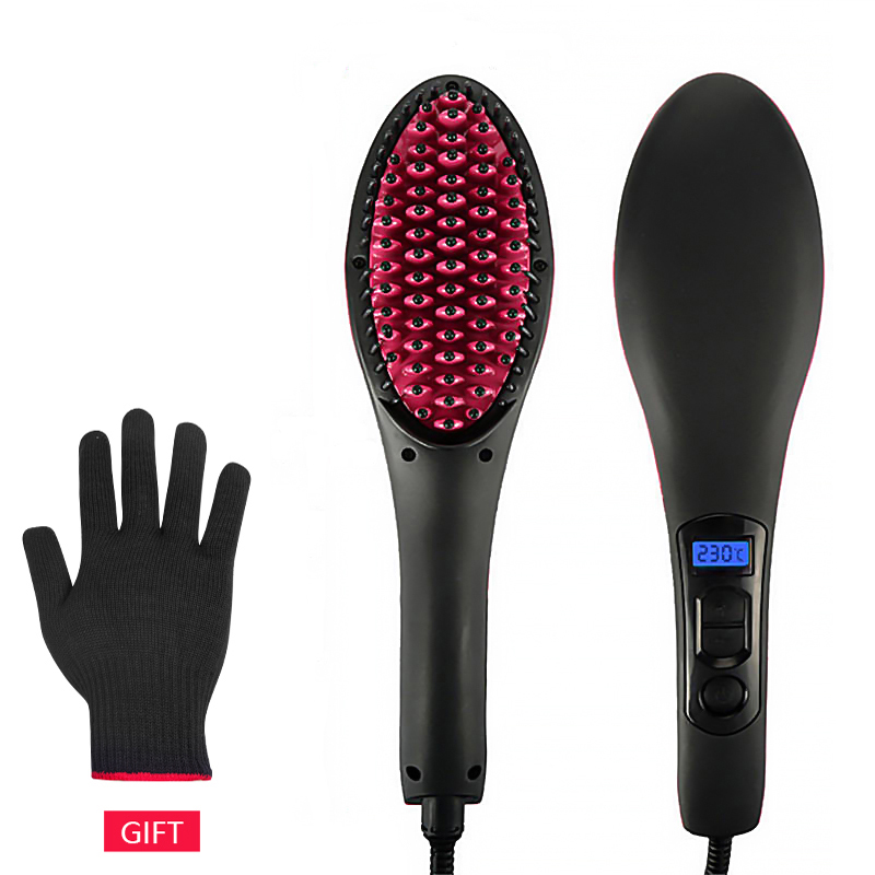 Electric Hair Straightener Brush Hair Straightening Comb Ionic Hair Brush Hot Irons Comb Hairbrush LCD Styling Heating Comb