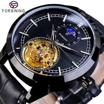 Forsining Stylish Business Mens Watch Top Brand Luxury Golden Automatic Mechanical Moon Phase Waterproof Tourbillon Wristwatches newest 44mm parnis white dial moon phase complete calendar golden plated case automatic self wind movement men s wristwatches