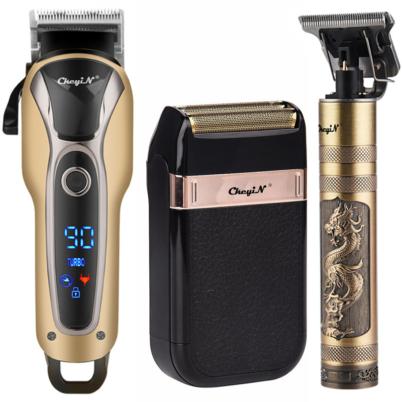Professional Barber Hair Clipper Rechargeable Electric T Outliner Finish Cutting Machine Beard Trimmer Shaver Cordless Corded