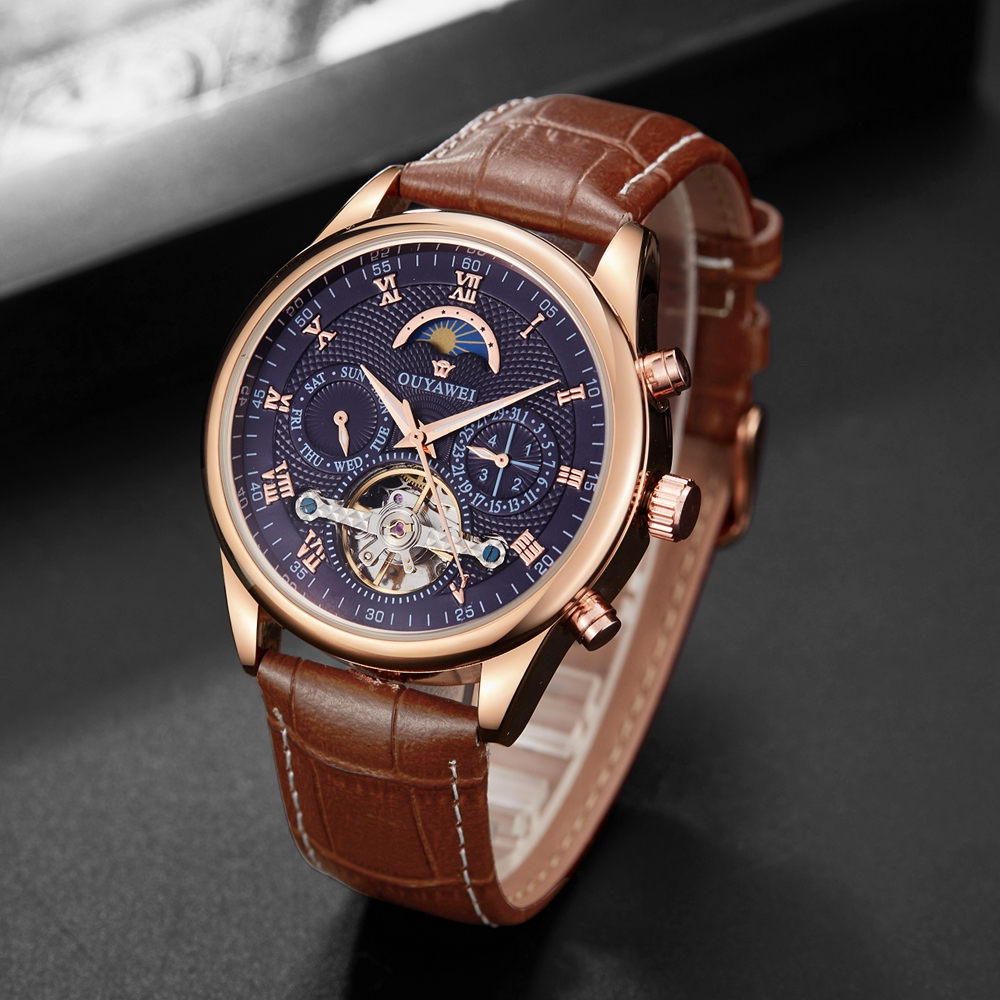 New Luxury brand Gold Blue Self Winding Mechanical Men Wristwatch Date Day Moon phase function Fashion Tourbillon male watch