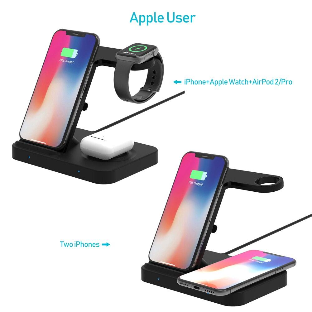sem fio suporte de carregamento para iphone11 xs apple relogio airpods pro 03
