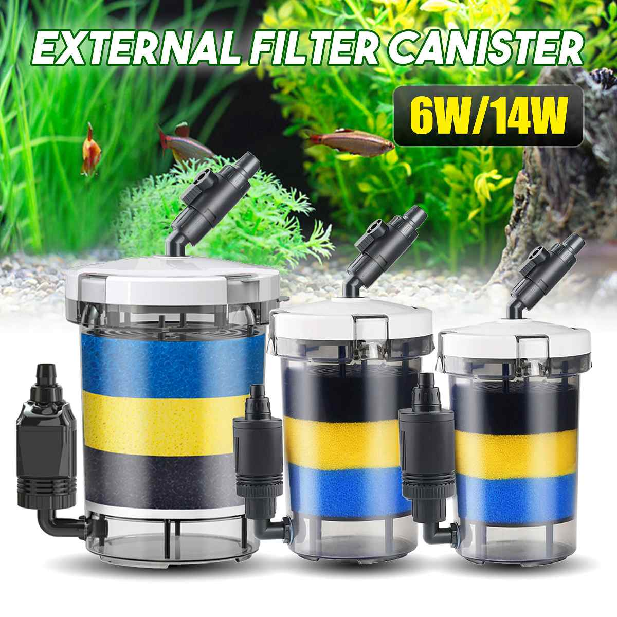 220V Aquarium External Canister Filter Fish Water Tank Air Pump Sponge Pond Water Fish Tank Filter Pump Aquarium Purifier
