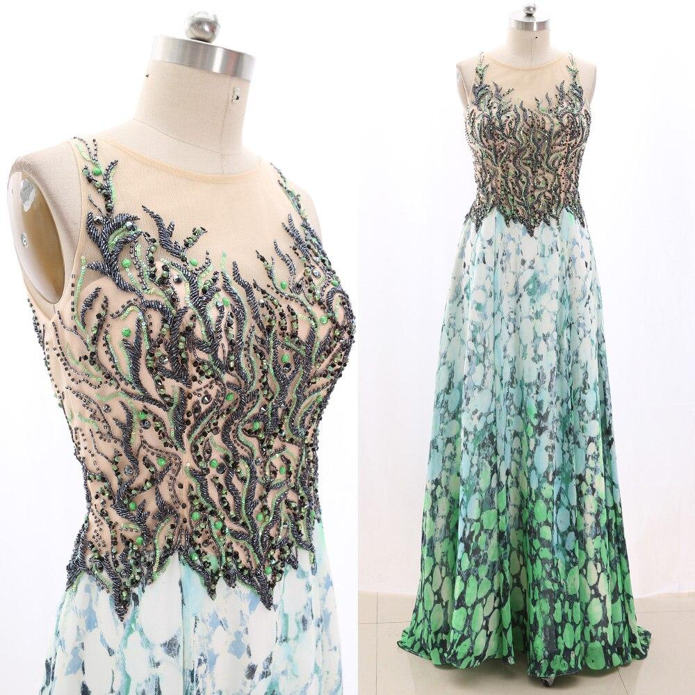 MACloth Green A-Line O Neck Floor-Length Long Crystal Chiffon   Prom     Dresses     Dress   L 267364 Clearance