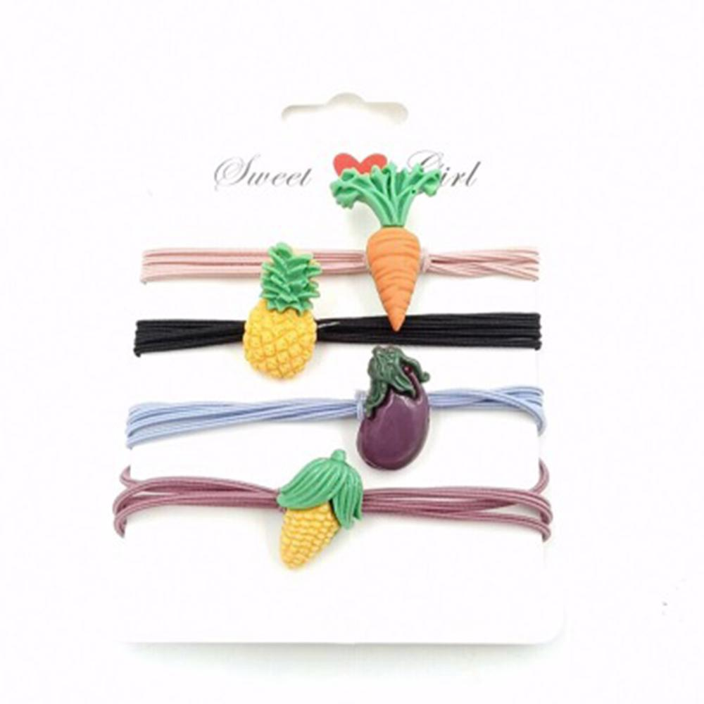 3Pcs/set Elastic Hair Bands For Girls Cute Vegetable Fruit Princess Solid Childern Hair Ropes Band For Kids Gift Accessories New