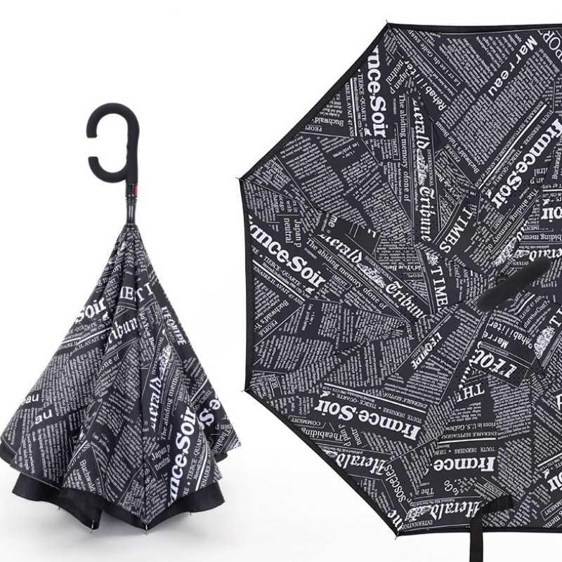 Fancytime Reverse Ombrello automatico Pieghevole Doppi Strati per Gli Uomini di Sé Basamento ombrello pioggia donne Invertito Antivento Ombrelli