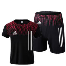 New men's sportswear summer suits men's fitness wear sports suits short-sleeved t-shirt shorts quick-drying 2-piece set
