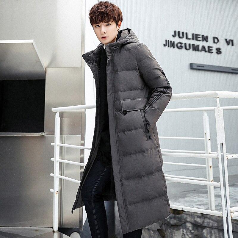 Hiver nouveau hommes long coton costume mince à capuche long manteau veste décontracté rue coupe vent 2019 hiver beau manteau chaud - 4