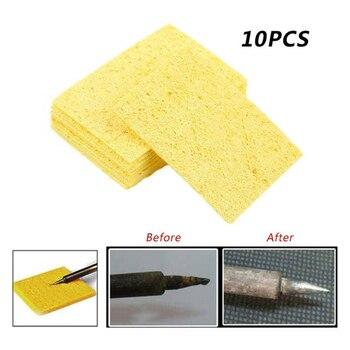 10 sztuk żółta gąbka do czyszczenia Cleaner do trwałego spawanie elektryczne lutownica