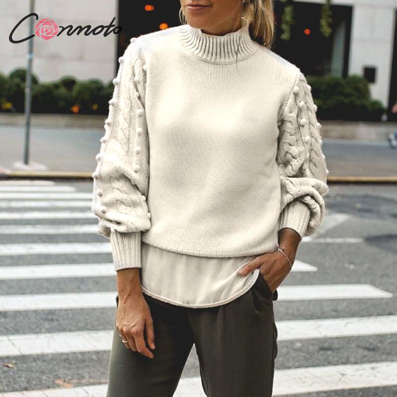 Conmoto Casual Knitted Sweater Women Solid White Autumn  Winter 2019 Sweater Jumpers Vintage Lantern Sleeve Pompom Pull Femme