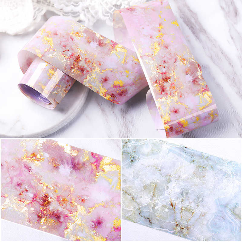 Pink Marble Nail Foil Sticker Starry Sky Transfer Paper Marble Shining Nail Art Decal Gel Slider