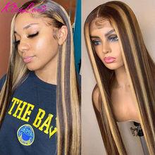KissLove-Peluca de cabello humano liso con encaje frontal, prearrancada, Color Piano degradado, 4x4, 1B/27, 13x6, 13x4, 4/27