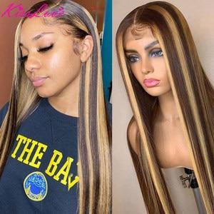 Прямой парик KissLove 4/27 1B/27 из натуральных волос 13X6 13x4, парик из натуральных волос, предварительно выщипанный парик с эффектом омбре, пианино, п...