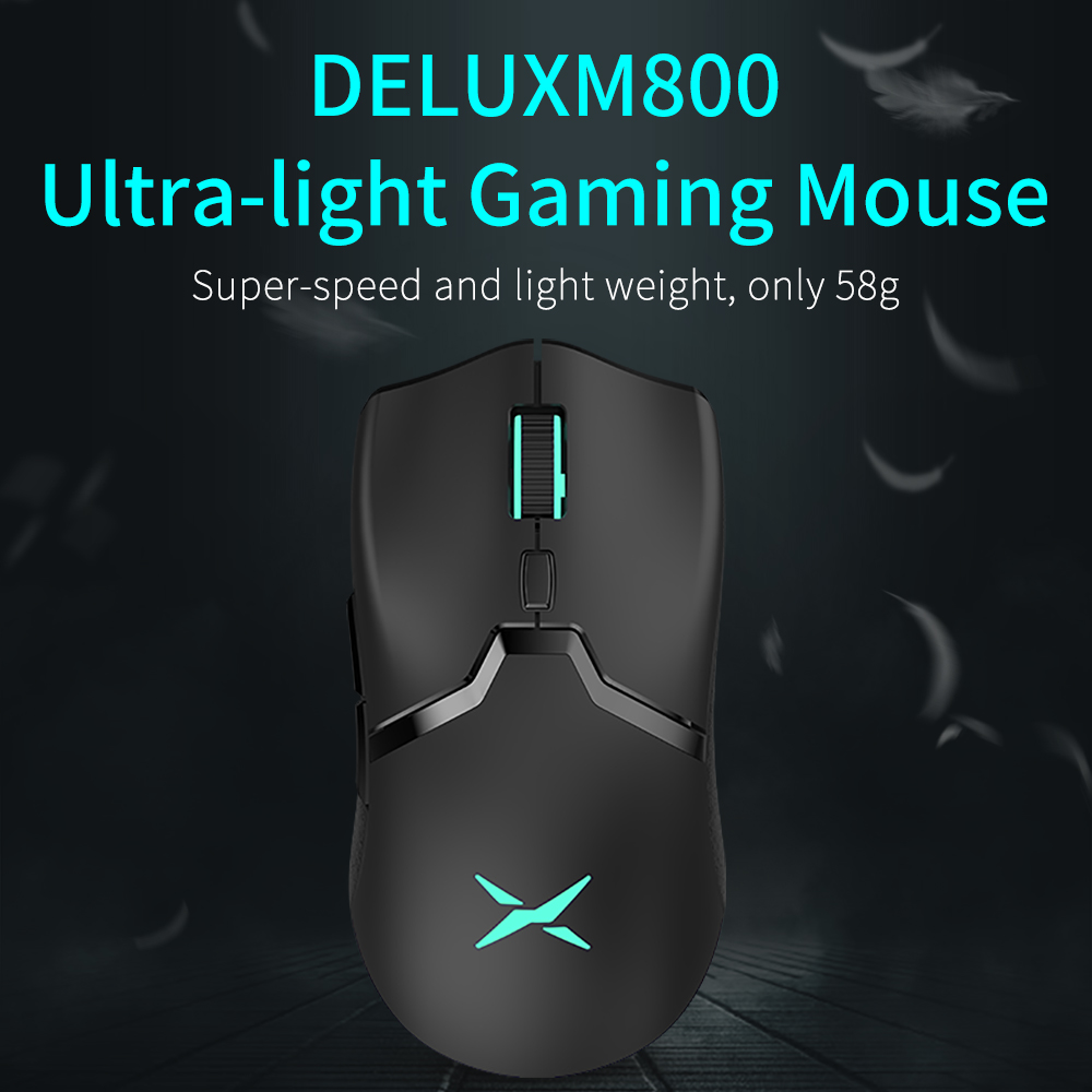 M800 RGB 2.4Ghz Wireless + Wired Gaming Mouse Dual Mode 16000 DPI Lightweight Ergonomic 1000Hz Mice with Soft rope Cable 2