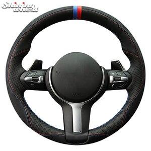 Image 2 - Glänzende weizen Schwarz Wildleder Leder Auto Lenkrad Abdeckung für BMW F87 M2 F80 M3 F82 M4 M5 F12 F13 m6 F85 X5 M F86 X6 M F33 F30