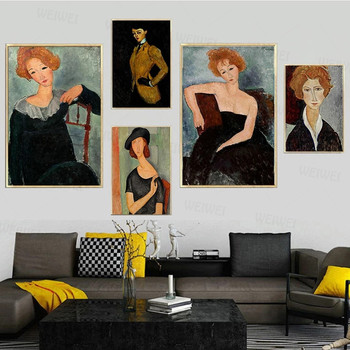 Nordic Art Pictures Portrait of Jeanne Hebuterne Art Canvas Paintings By Modigliani Famous Wall Art Posters and Prints Decor image