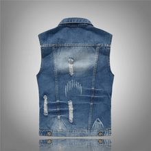 Outwear Mens Denim Vests Casual Streetwear Hole Ripped Vintage Personality Waistcoat Korean Style Biker Sleeveless Man Jackets(China)
