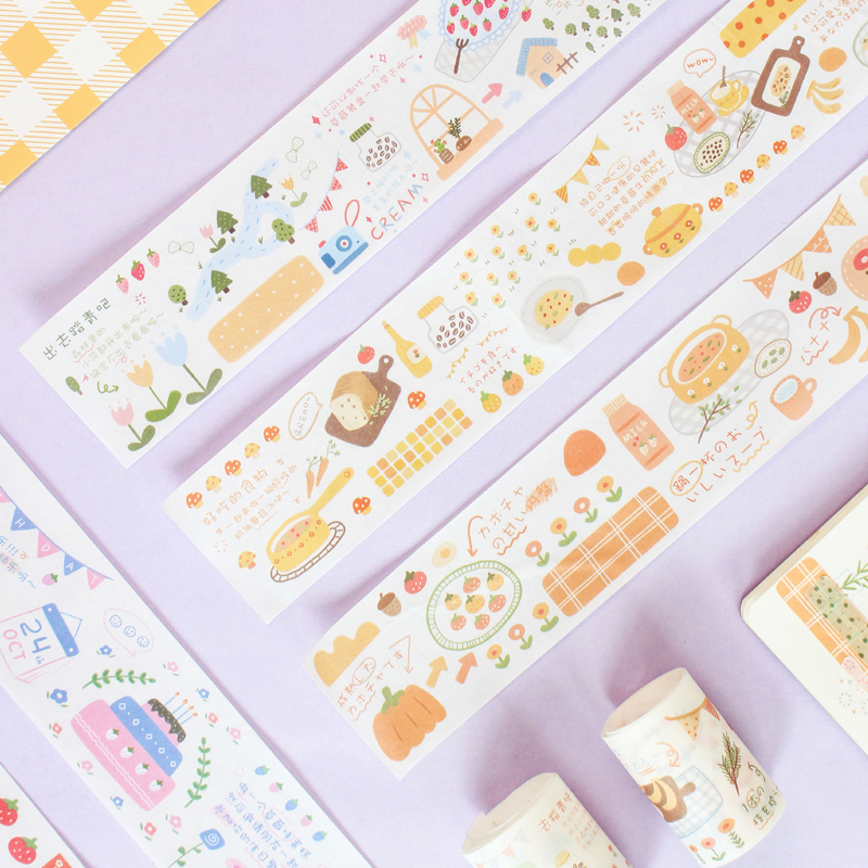 JIANWU 1PC 5cmx40cm Picnic Series  Washi Masking Release Paper Stickers Scrapbooking DIY Bullet Journal Decorative Sticker