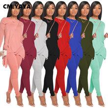 CM.YAYA-Conjunto de ropa de calle para mujer, camiseta de manga larga con dobladillo y lazo, leggings apilados, chándal activo, Traje de dos piezas