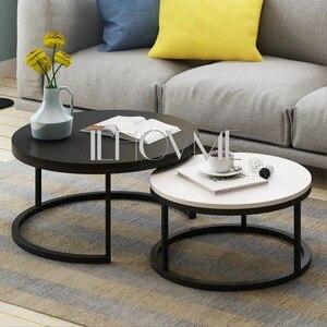 Stal drewno styl skandynawski dom drewniany stolik kreatywny mały apartament prosty salon połączenie boczne Mini okrągłe
