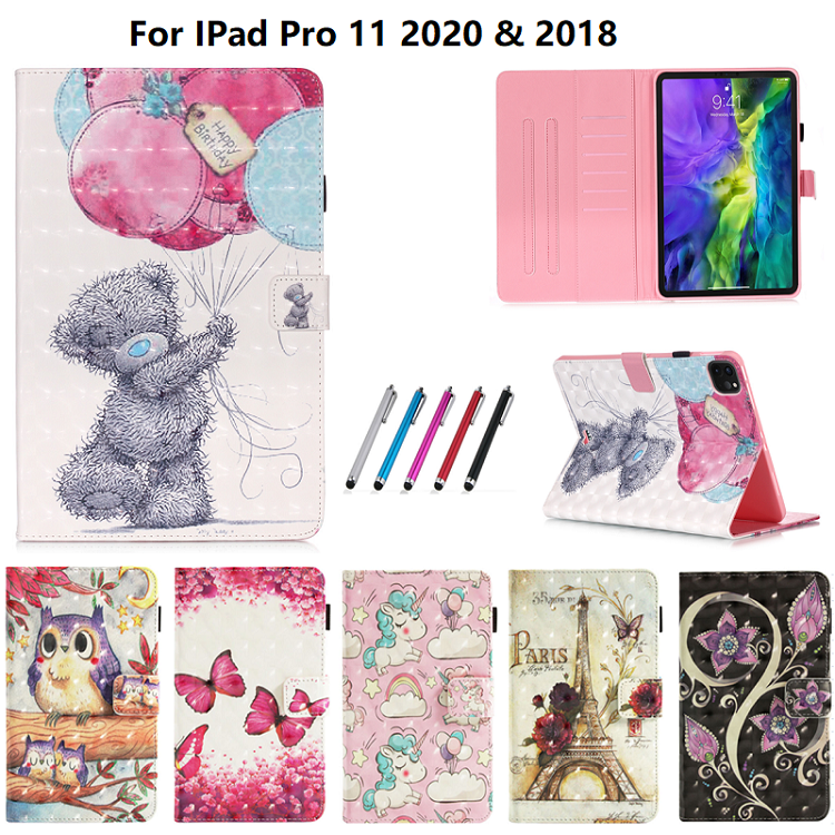 Random One Gold Coque For iPad Pro 11 2020 Case Bear Unicorn Butterfly Owl Leather Tablet Cover For Funda
