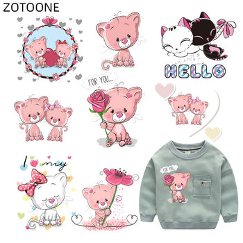 ZOTOONE Iron on Patch for Clothes Cute Cat Patches Animal Flower Sticker for Kids Heat Transfers Applications DIY Appliques G iron on cartoon anime patches for kids animal patch for clothing bag cute bat hero bear stickers diy heat transfers appliques h