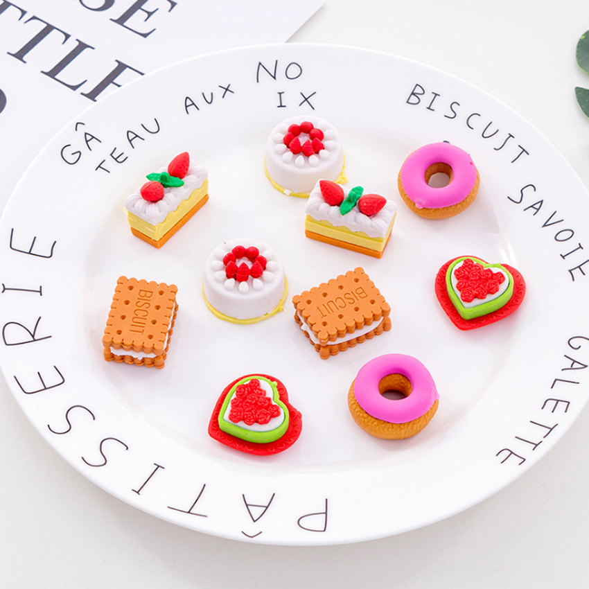 5pcs/set Creative Cute Cookie Donut Eraser Set Kawaii Stationery School Supplies High Quality Erasers