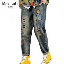 Max LuLu Autunno Coreano Signore di Modo di Autunno Punk Streetwear Delle Donne Del Ricamo Jeans Strappati Vintage Femminile Stampato Pantaloni stile harem