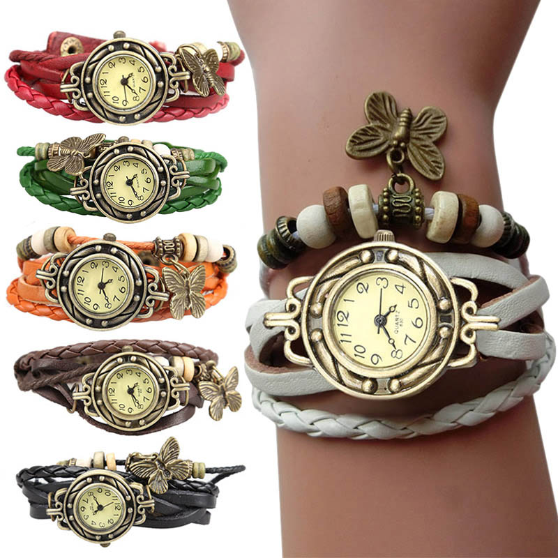 Women Retro Bracelet Wrist Watch Weave Wrap Faux Leather Butterfly Beads Pendant Chain  EIG88