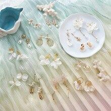Fashion White Shell Dangle Earrings For Women Earrings Sweet Shell Pendientes Girl Ear Jewelry femme 2019 Flower Brincos Gift