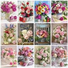 Evershine 5D DIY diamentowa malowanie kwiat krzyż zestaw do szycia mozaika diamentowa haftowana róża pełne diamentowe kwadraciki do dekoracji wnętrz