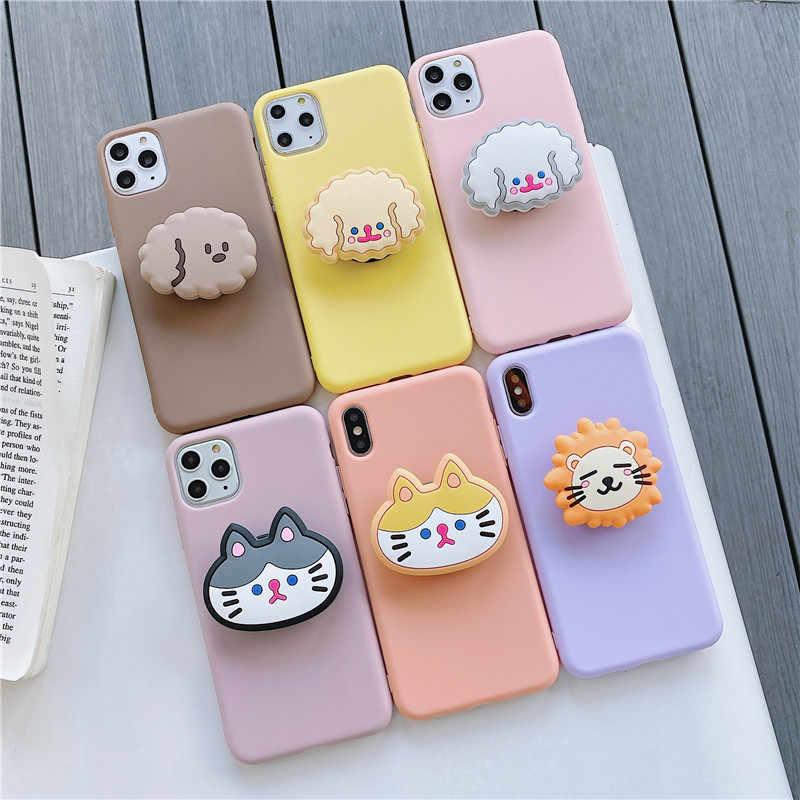 3D Animale Del Fumetto del Cane Del Gatto del supporto cassa del telefono Morbida per iphone X XR XS 11 Pro Max 6 7 8 più copertura per samsung S8 S9 S10 20 Nota