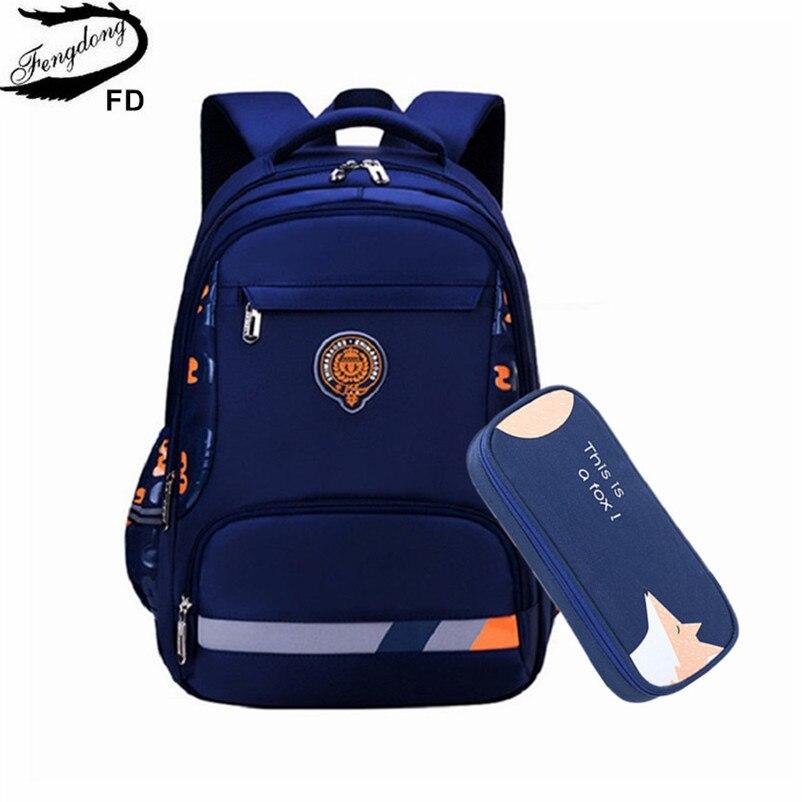 FengDong Primary School Bags For Boys Student Luminous Backpack Waterproof School Backpack Kids Stationery Pen Pencil Bag Set