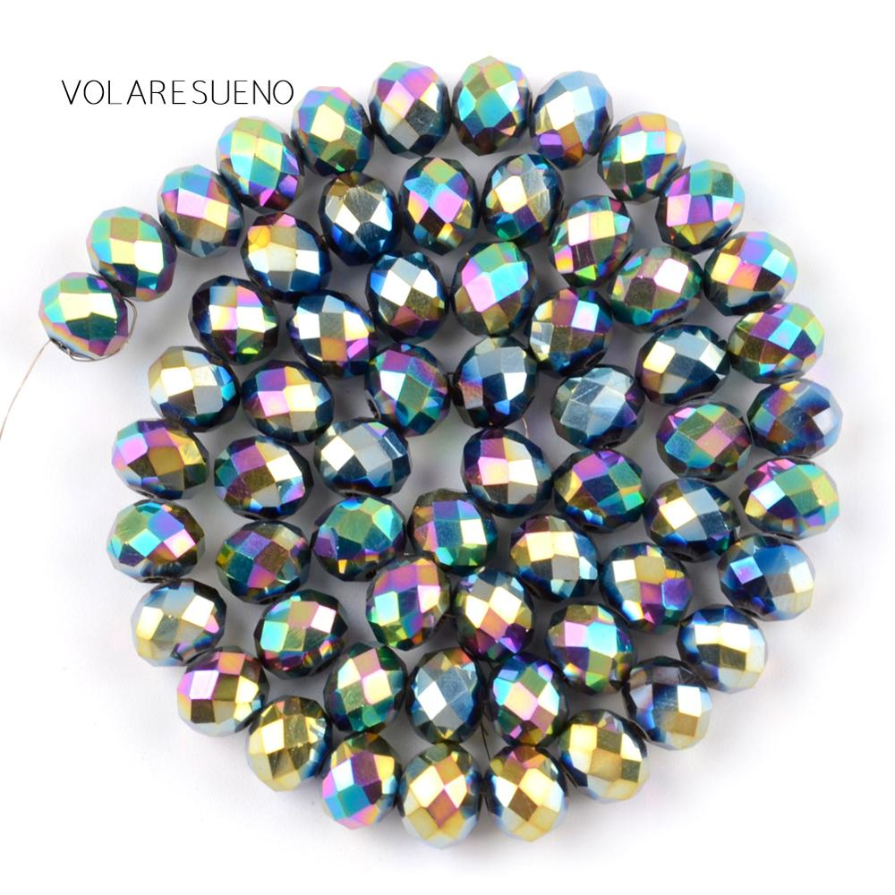"""Faceted Plant AB Rondelle Multicolor Austrian Crystal Glass Loose Beads 15"""" Pick 4 12mm Spacer Beads For Necklace Jewelry Making in Beads from Jewelry Accessories"""