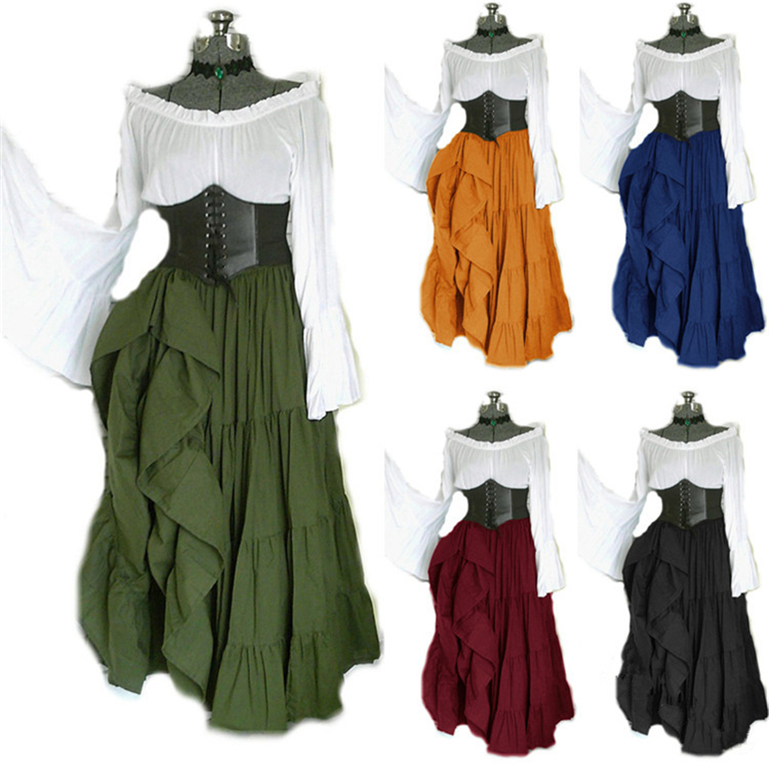 2019 New Halloween Women Medieval Cosplay Costumes Gothic Retro Victoria Middle Ages Carnival Long Sleeve Pleated Corset Dress