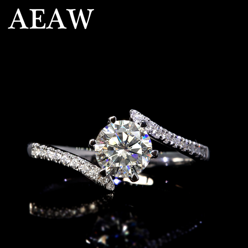 1 Carat Ct 6.5mm White Engagement&Wedding Moissanite Diamond Ring In Platinum Plated Silver Rings