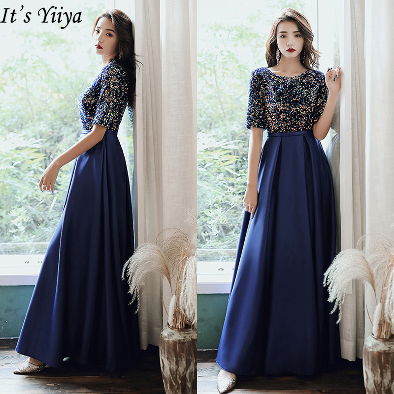It's Yiiya Evening Dress Sequins Colorful Robe De Soiree LF194  Plus Size Formal Gowns For Women Long Blue Evening Dresses 2020