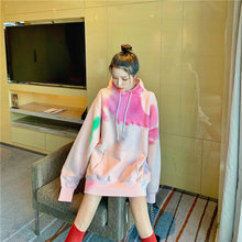 Сильно расписанный вручную Свободный пуловер с капюшоном плюс
