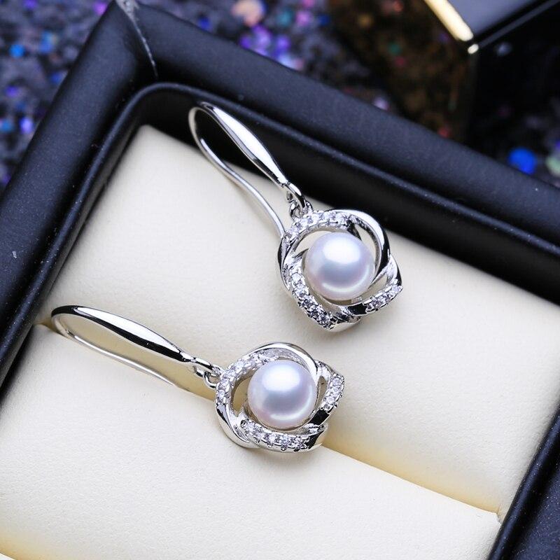 FENASY 925 Sterling Silver Natural Freshwater Pearl Drop Dangle Earrings For Women Long Earrings Fashion Pearl Jewelry