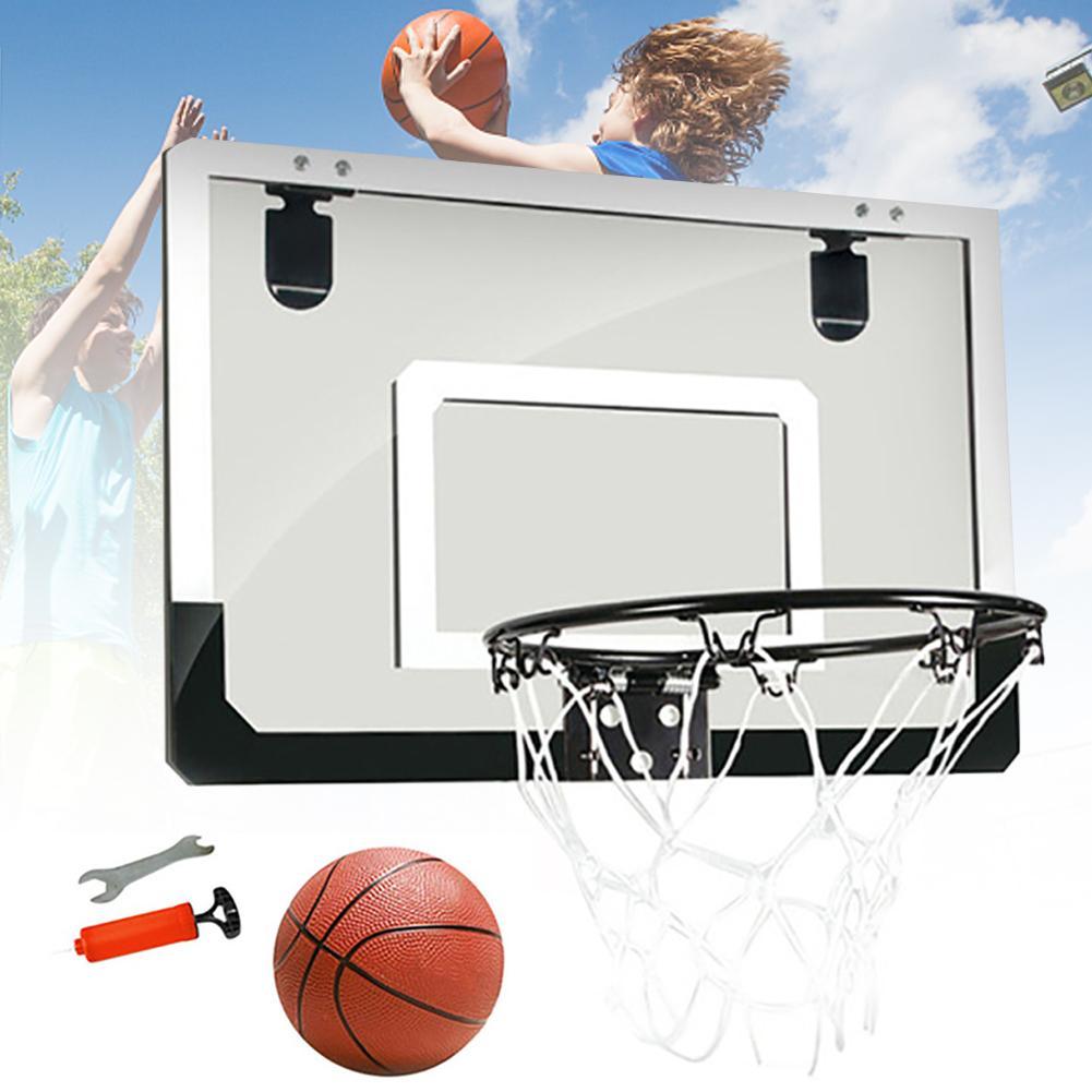 Office Indoor Toy Steel Rim Shatterproof Backboard With Ball Transparent Sports Basketball Hoop Set Mini Rebounds Wall Hanging