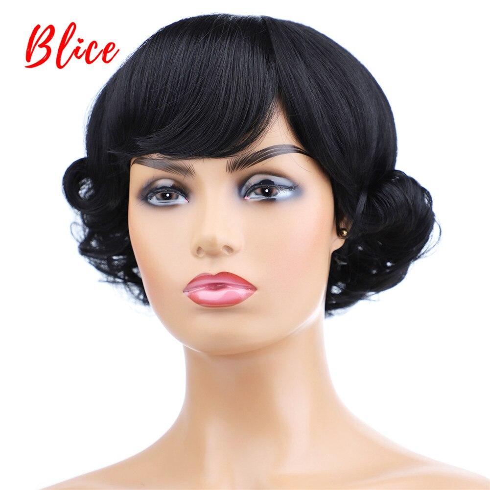 Blice короткие кудрявые синтетические парики с свободного взрыва натуральный черный термостойкая прическа высокая температура для женщин|Синтетические парики без сеточки| | АлиЭкспресс