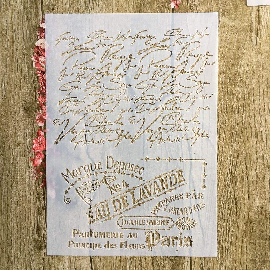 A4 29 * 21cm EAU DE LAVANED Letter DIY Stencils Wall Painting Scrapbook Coloring Embossing Album Decorative Paper Card Template