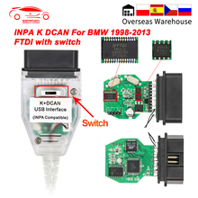 INPA K DCANสำหรับBMW FT232RL/RQ OBD OBD2สายวินิจฉัยรถยนต์INPA K + DCANสำหรับKสายK LineสำหรับBMW E39 ICOM Scanner Adapter